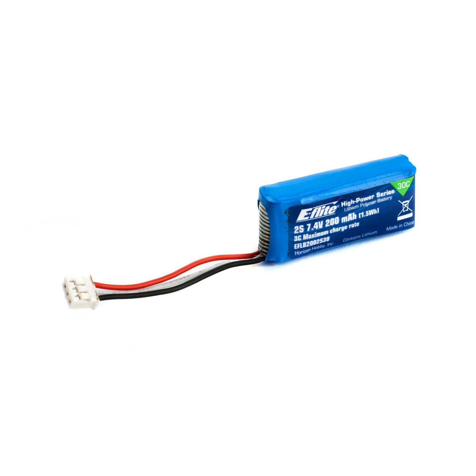 7.4V 200mAh 2S 30C LiPo Battery: PH