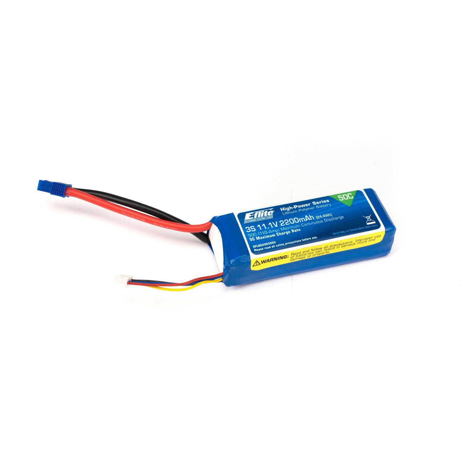 11.1V 2200mAh 3S 50C LiPo Battery: EC3
