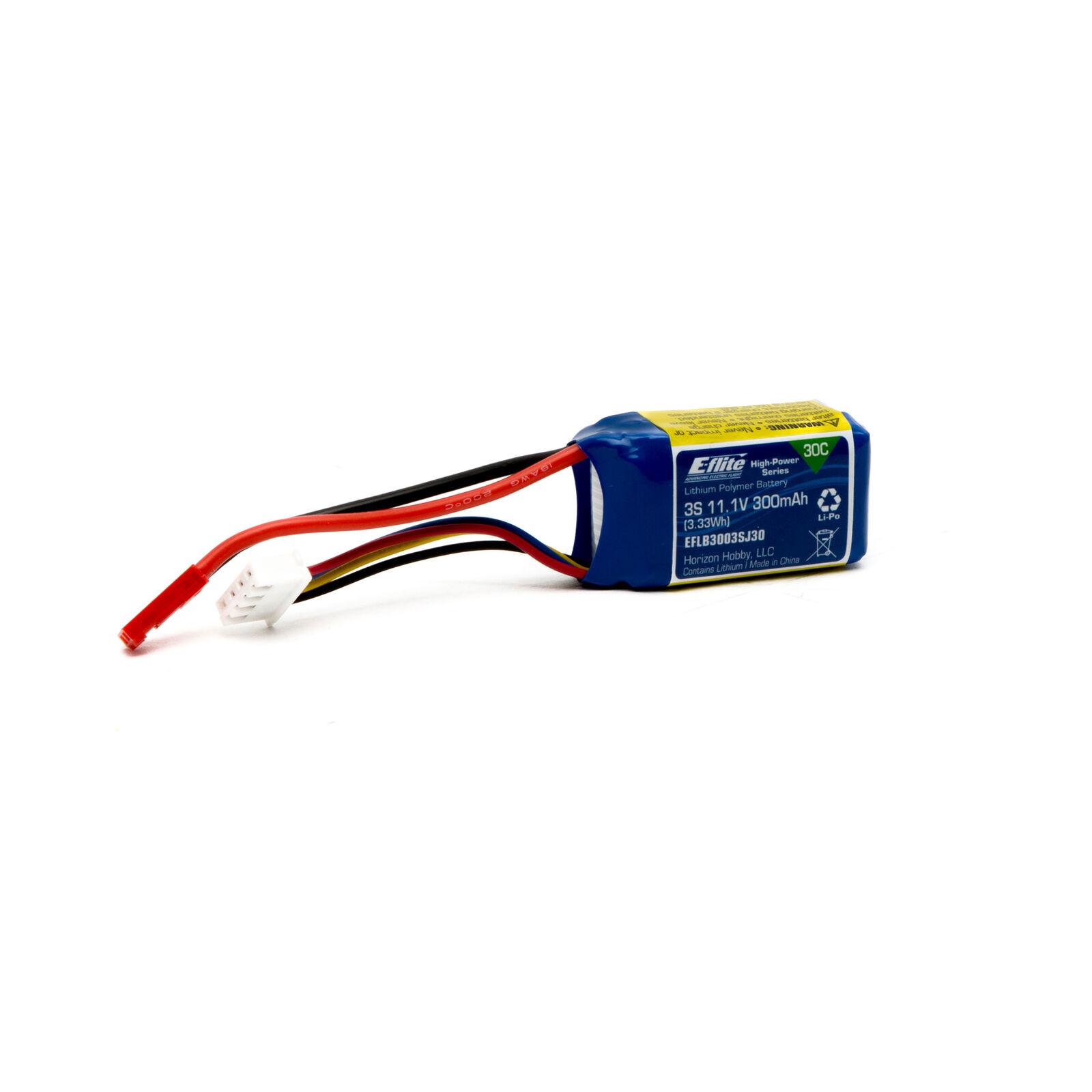 11.1V 300mAh 3S 30C LiPo Battery: JST