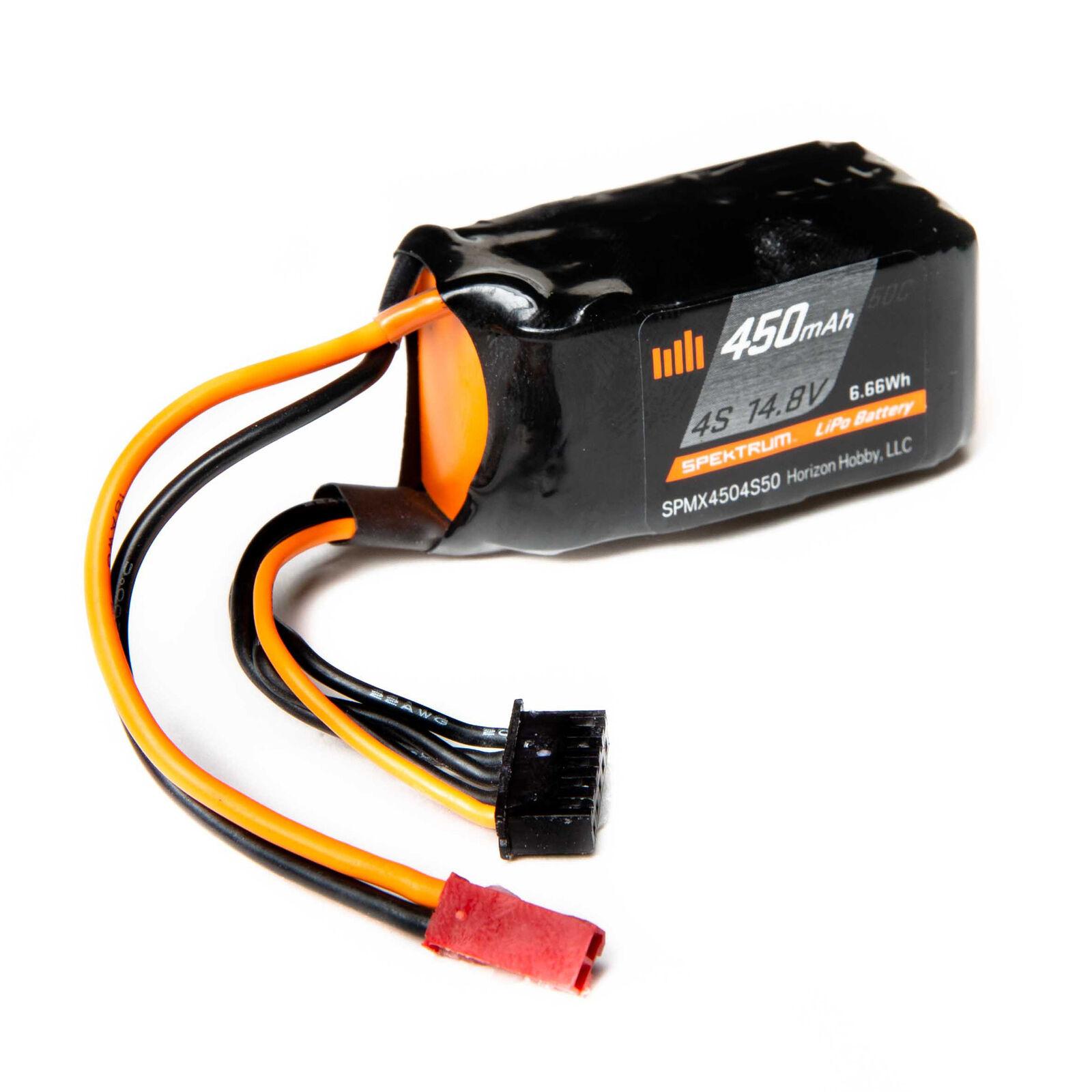 14.8V 450mAh 4S 50C LiPo Battery: JST