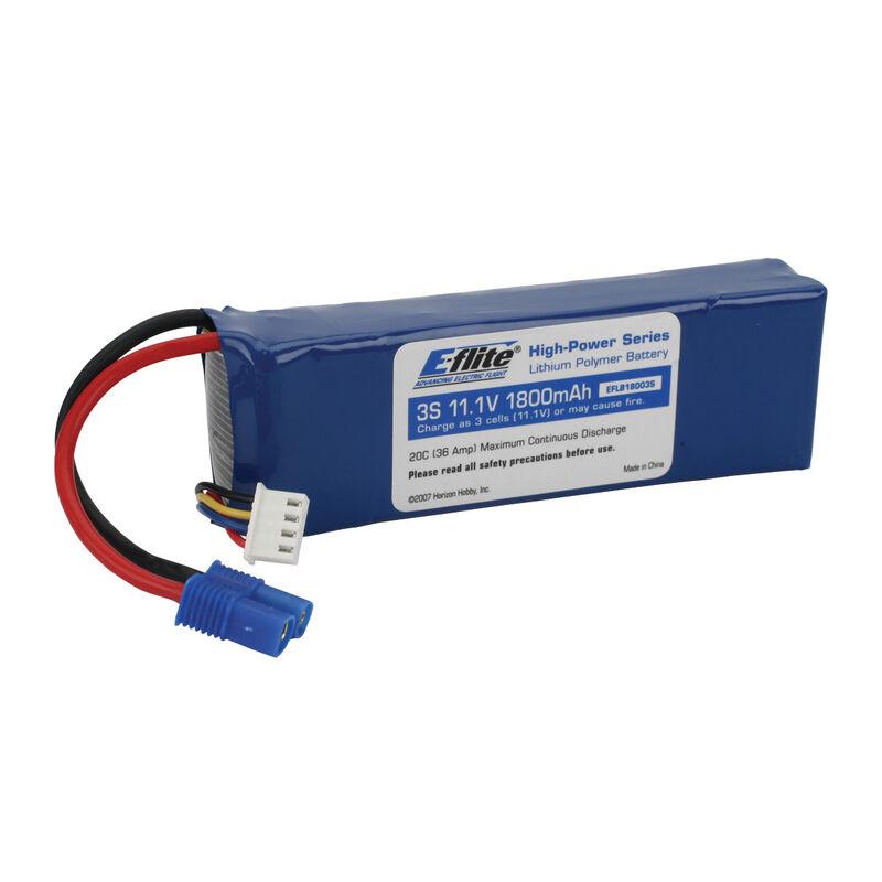 11.1V 1800mAh 3S 20C LiPo Battery: EC3