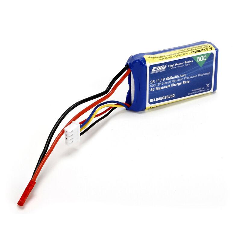 11.1V 450mAh 3S 50C LiPo Battery: JST