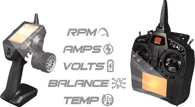 Telemetry: RPM, AMPS, VOLTS, BALANCE, TEMPS.