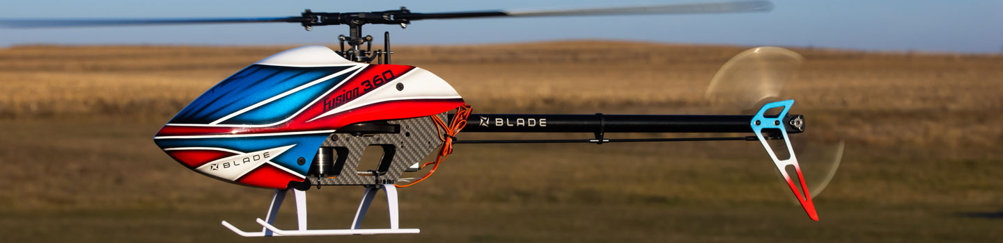 action shot of blade rc helicopter